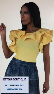 ketou boutique black model yellow top denim bottom